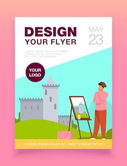 Modelo de panfleto de castelo de pintura de artista criativo