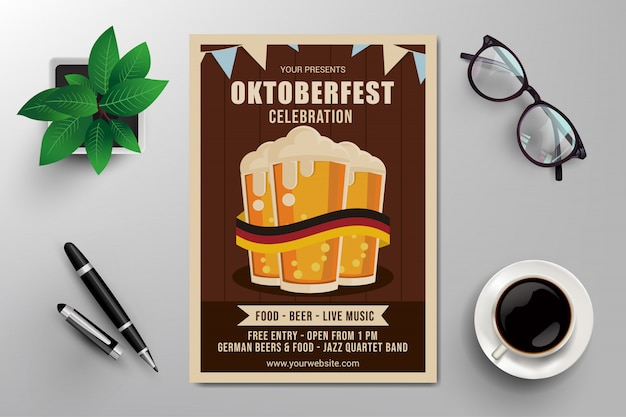 Modelo de panfleto de celebração da oktoberfest