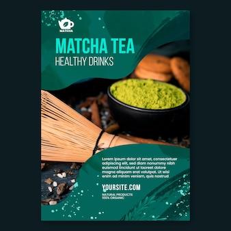 Modelo de panfleto de chá matcha com foto