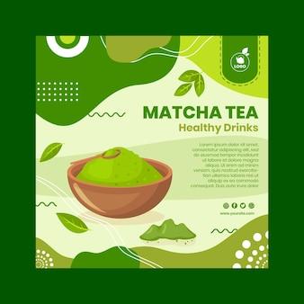 Modelo de panfleto de chá matcha