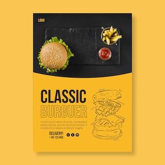 Modelo de panfleto de comida americana com foto de hambúrguer