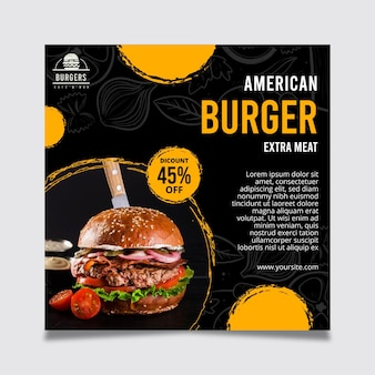 Modelo de panfleto de comida americana