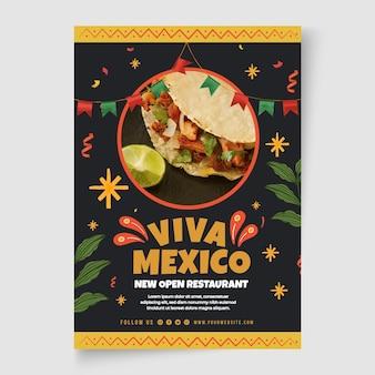Modelo de panfleto de comida mexicana com foto