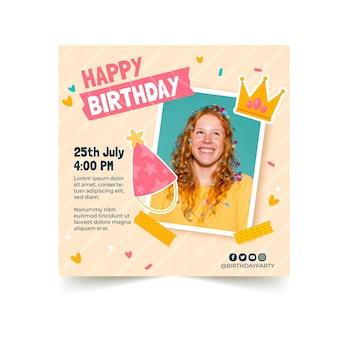 Modelo de panfleto de convite de aniversário