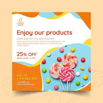Modelo de panfleto de doces com foto