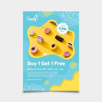 Modelo de panfleto de doces