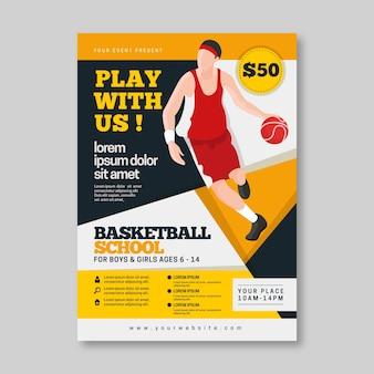 Modelo de panfleto de esporte basquete