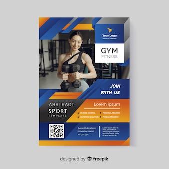 Modelo de panfleto de esporte com código qr