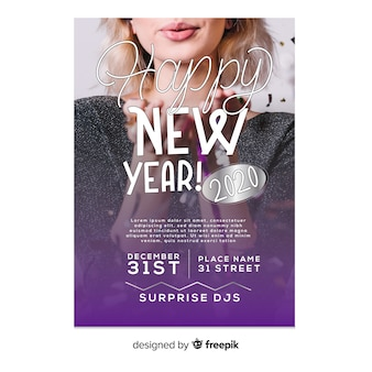 Modelo de panfleto de festa de ano novo 2020 com foto