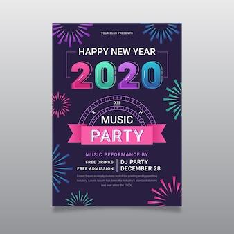 Modelo de panfleto de festa de ano novo 2020 em design plano