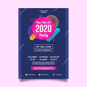 Modelo de panfleto de festa de ano novo de design plano 2020