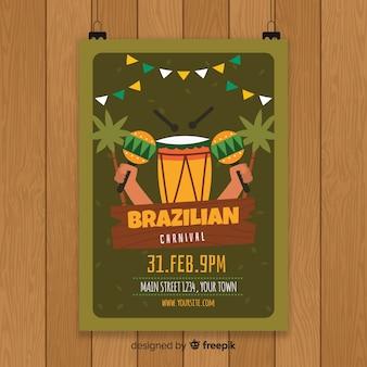 Modelo de panfleto de festa de carnaval brasileiro