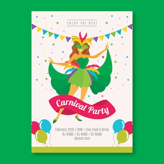 Modelo de panfleto de festa de carnaval de design plano