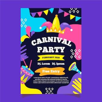 Modelo de panfleto de festa de carnaval desenhados à mão