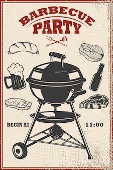 Modelo de panfleto de festa de churrasco. grill, fogo, carne grelhada, cerveja, açougueiro. elementos para cartaz, menu de restaurante. ilustração