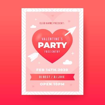 Modelo de panfleto de festa de dia dos namorados de design plano