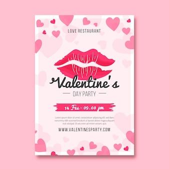 Modelo de panfleto de festa de dia dos namorados em design plano