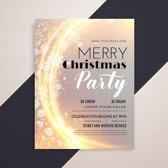 Modelo de panfleto de festa de flocos de neve de natal feliz brilhante