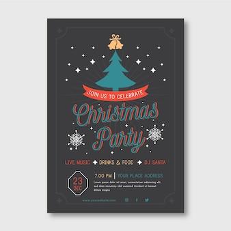 Modelo de panfleto de festa de natal com árvore ilustrada