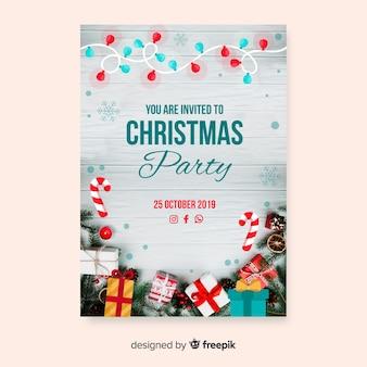 Modelo de panfleto de festa de natal com foto