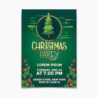 Modelo de panfleto de festa de natal com fundo de árvore de natal