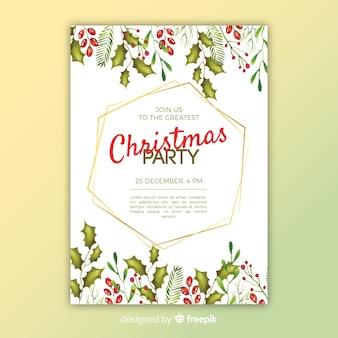 Modelo de panfleto de festa de natal em aquarela colorida