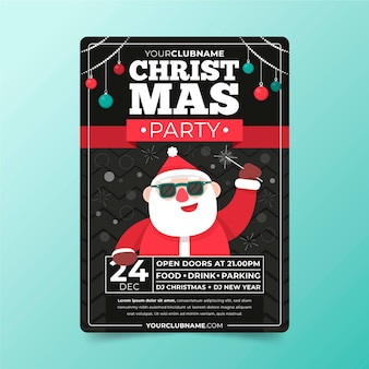 Modelo de panfleto de festa de natal em design plano