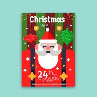 Modelo de panfleto de festa de natal plana