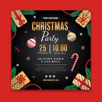 Modelo de panfleto de festa de natal quadrada com bastão de doces