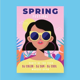 Modelo de panfleto de festa de primavera de design plano