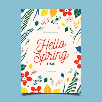Modelo de panfleto de festa de primavera de flores design plano flor