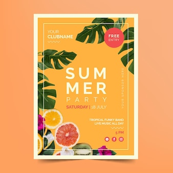Modelo de panfleto de festa de verão com frutas cítricas e folhas