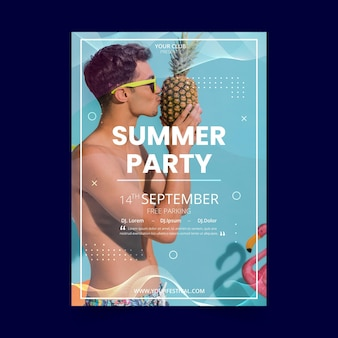 Modelo de panfleto de festa de verão com homem e abacaxi