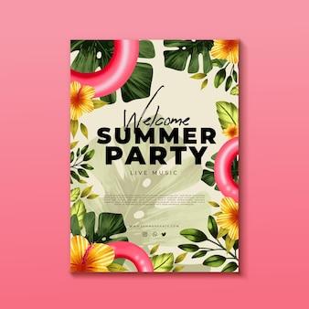 Modelo de panfleto de festa de verão em aquarela pintada à mão