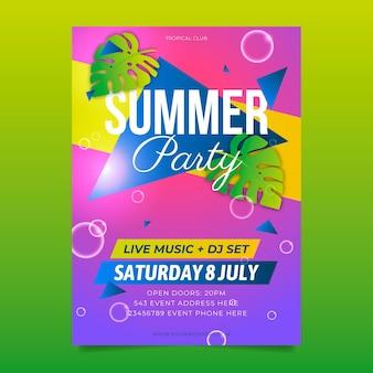 Modelo de panfleto de festa de verão realista