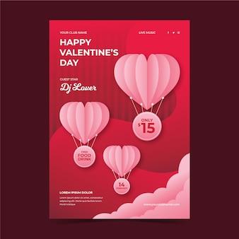 Modelo de panfleto de festa do dia dos namorados em estilo jornal