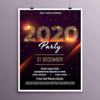 Modelo de panfleto de festa elegante feliz ano novo