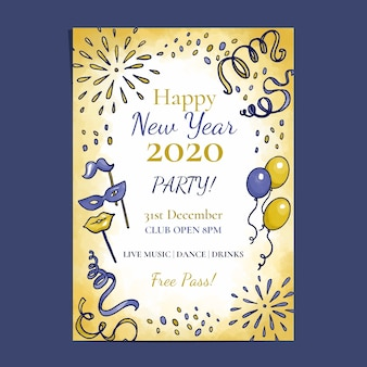 Modelo de panfleto de festa em aquarela ano novo 2020