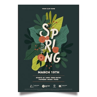 Modelo de panfleto de festa linda primavera abstrata