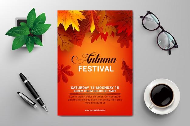 Modelo de panfleto de festival de outono