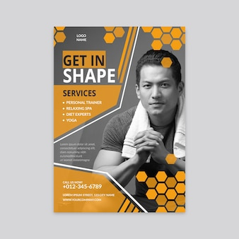 Modelo de panfleto de fitness com foto