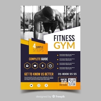 Modelo de panfleto de fitness ginásio esporte
