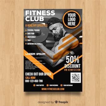Modelo de panfleto de ginásio moderno com foto