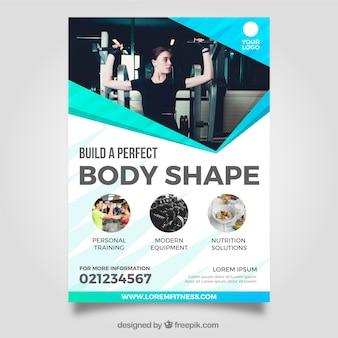 Modelo de panfleto de ginásio moderno com imagem