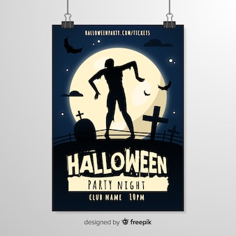 Modelo de panfleto de halloween de silhueta de zumbi assustador