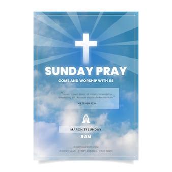 Modelo de panfleto de igreja em gradiente com foto