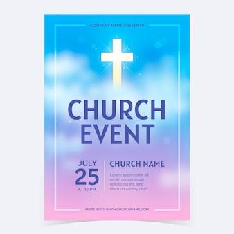 Modelo de panfleto de igreja gradiente