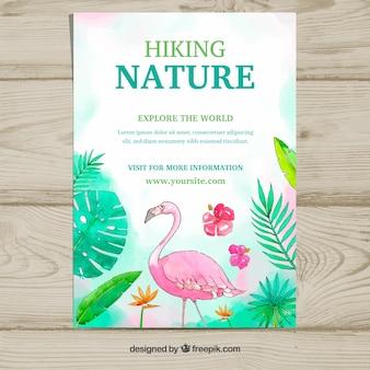 Modelo de panfleto de natureza com animal aquarela