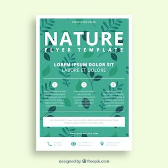 Modelo de panfleto de natureza com design plano