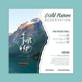 Modelo de panfleto de natureza selvagem com foto